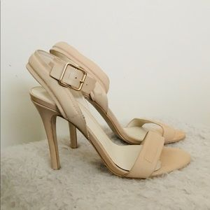NEW with box. ShoeMint tan Wrap Ankle Heels size 9